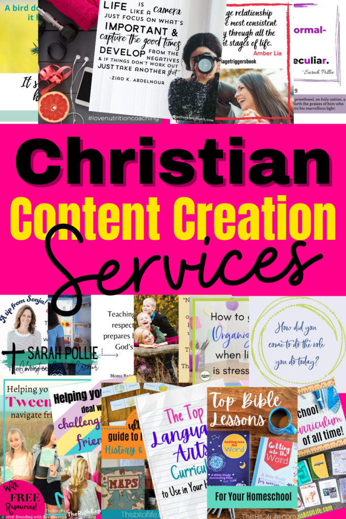Christian Content Creation Services for Christian authors and christian bloggers. social media graphics. pinterest pins. landing pages. proofreading.